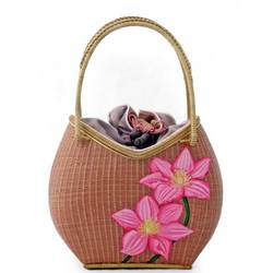 """""""Lilac Lotuses"""" Bamboo and Silk Handbag"""