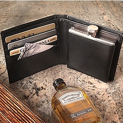 Leather Wallet with Engraved Flask