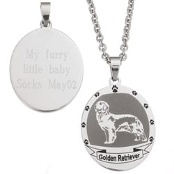 Personalized Stainless Steel Golden Retriever Pendant