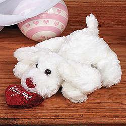 Plush White Bean Bag Dog with Heart