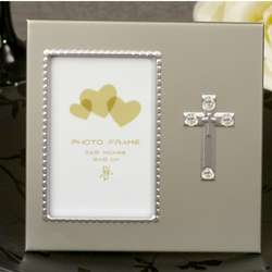 Blessed Events Silver Cross Photo Frame with Crystals