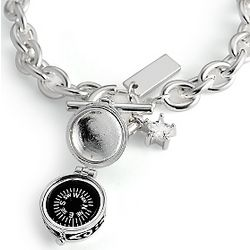 Silver Plated Compass Toggle Bracelet