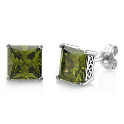 Sterling Silver Peridot Cubic Zirconia Solitaire Earrings