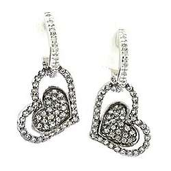 Sterling Silver White Topaz Heart in Heart Dangle Earrings