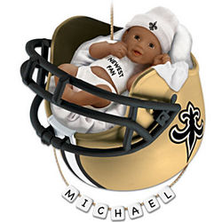 New Orleans Saints Personalized African American Baby Ornament