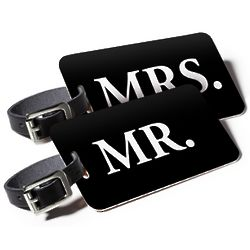 Mr And Mrs Find Me ID Luggage Tags with QR Code