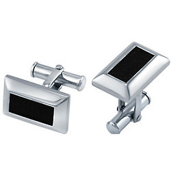 Stainless Steel and Black Leather Rectangular Cufflinks