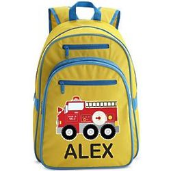 Large Yellow Personalized Fire Engine Backpack
