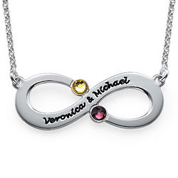 Couple's Personalized Silver Infinity Necklace with Birthstones