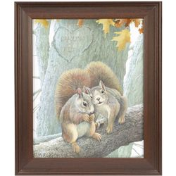 Personalized Squirrel and Heart Framed Art Print