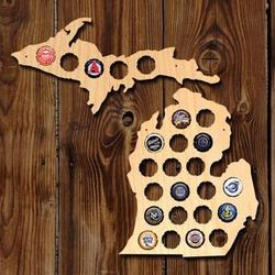 Small Michigan and Upper Peninsula Beer Cap Map