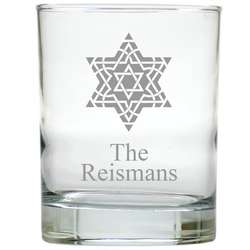 6 Fancy Star of David Personalized Old Fashion Glasses