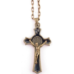 "Antique Finish St. Benedict Crucifix with 20"" Chain"