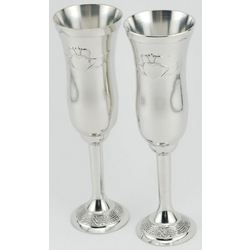 Claddagh Pewter Champagne Flutes