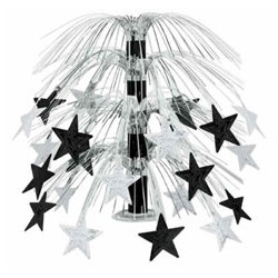 Cascading Black & Silver Stars Centerpiece