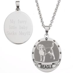 Personalized Stainless Steel Beagle Pendant