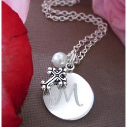 First Communion Initial Necklace