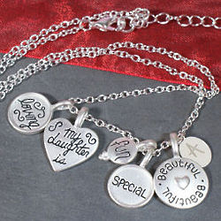 Engraved Loving Daughter Charm Necklace