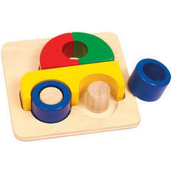 Wooden Car Puzzle in Primary Colors