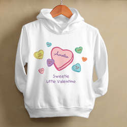 Personalized Candy Hearts Girl's Valentine's Day Sweatshirt