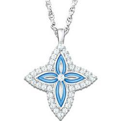 Precious Faith White Topaz Cross Pendant Necklace