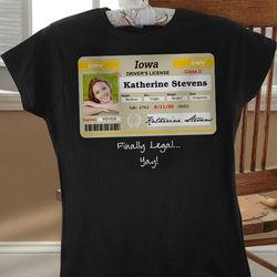 Birthday Drivers License Personalized Black T-Shirt