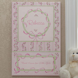 Personalized Baby Girl Precious Ribbon Canvas Print