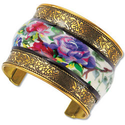 Handpainted Floral Brass Bangle