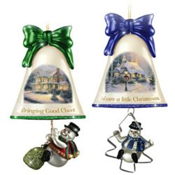 7 Thomas Kinkade Ringing in the Holidays Ornaments