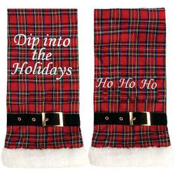 Ho Ho Ho Plaid Hand Towels