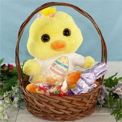 Brown Wicker Easter Basket with Stuffed Animal and Candy