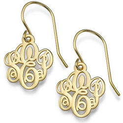 Monogrammed Earrings with 18k Gold Plating
