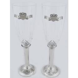 Claddagh Wedding Flutes