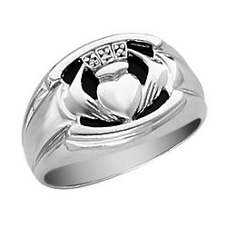 14k White Gold and Diamond Onyx Claddagh Men's Ring