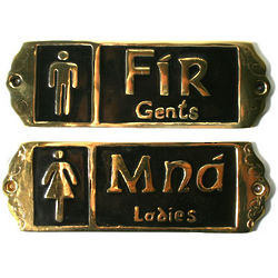 Fir & Mna Brass Irish Pub Bathroom Door Signs