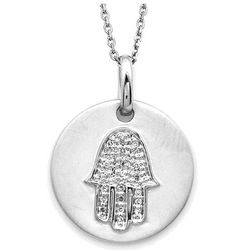 Sterling Silver Diamond Hamsa Disc Pendant
