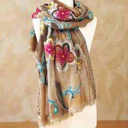 Ruby and Turquoise Flowers Wrap