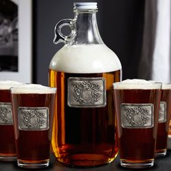 Personalized Royal Crest Growler and Beer Glasses
