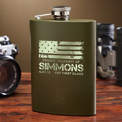 Personalized American Heroes Military Flask in Green