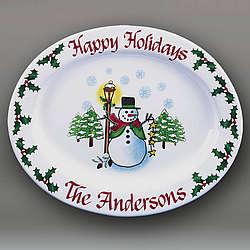 Snowman Personalized Platter