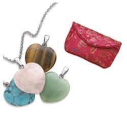 4 Genuine Stone Heart Pendant Set