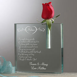 I Cherish You Personalized Glass Bud Vase