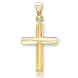 14k Yellow Gold Divine Classic Children's Cross Pendant