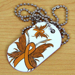 Multiple Sclerosis Butterfly Ribbon Dog Tag