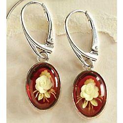 Amber Intaglio Rose Earrings