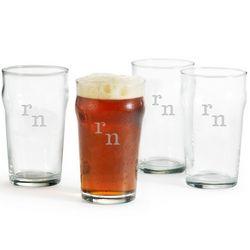 British Pint Glasses with Engraved Monogram