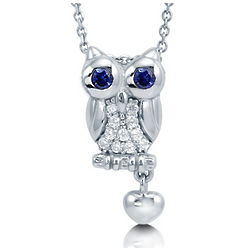 Cubic Zirconia Sterling Silver Owl with Dangle Heart Necklace