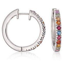 Sterling Silver Multicolored Sapphire Hoop Earrings