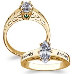 Couple's Name and Birthstone Marquise Cubic Zirconia Ring