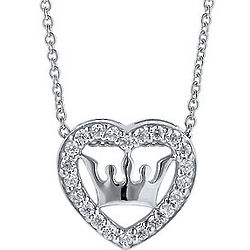 Sterling Silver Cubic Zirconia Crown in Heart Necklace